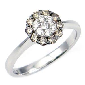תכשיטי בר דור - טבעת משולבת יהלומים לבנים וחומים