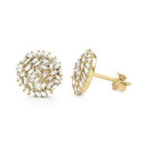 עגילים יהלומים בצורת באגט