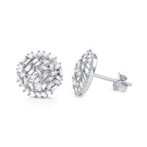 עגילי יהלומים בצורת באגט