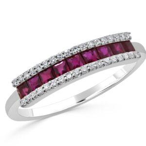 טבעת יהלומים ורובינים