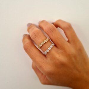 תכשיטי בר דור טבעת פרחים יהלומים זהב לבן 14 קראט