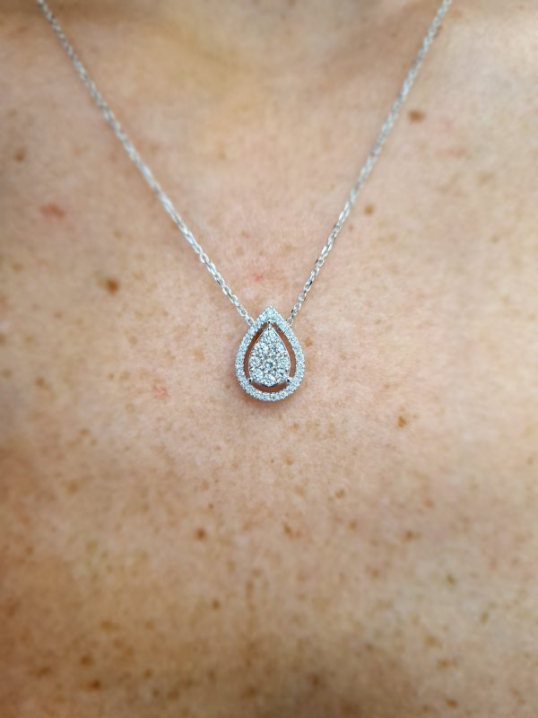 תכשיטי בר דור - שרשרת עם תליון בצורת טיפה יהלומים pear shape