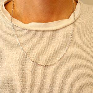 תכשיטי בר דור - שרשרת זהב לבן לולאות
