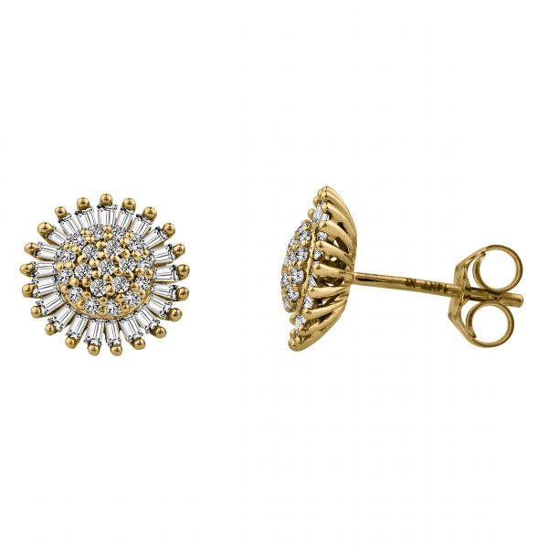 עגילי יהלומים צמודים לאוזן מזהב צהוב 14 קראט בשילוב יהלומים עגולים יהלומי באגט