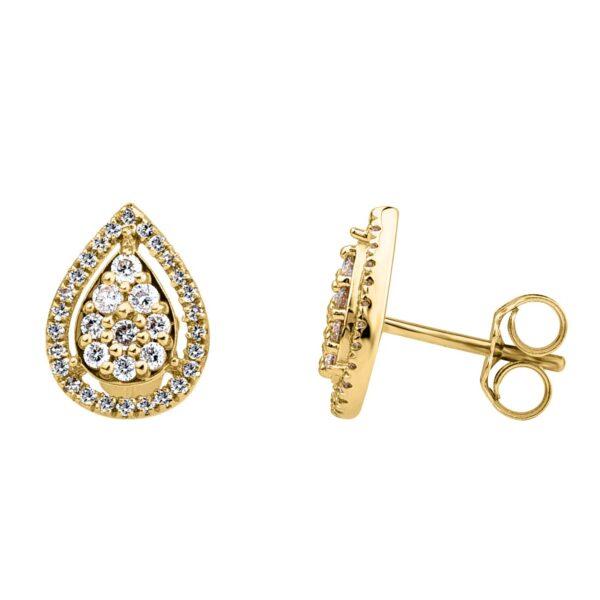 תכשיטי בר דור הרצליה עגילי יהלומים בצורת טיפה במבצע