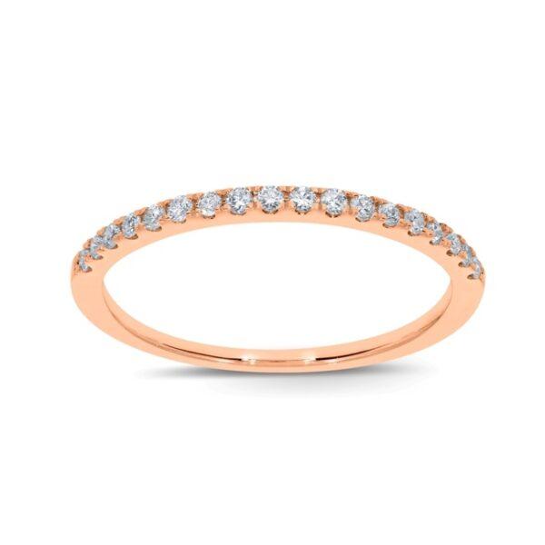 תכשיטי בר דור - טבעת שורה זהב אדום רוז גולד יהלומים