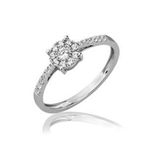 טבעת אירוסין עדינה זהב לבן 14 קראט