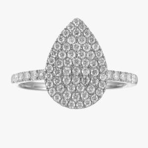 טבעת טיפה בשיבוץ פאווה יהלומים זהב לבן 14 קראט