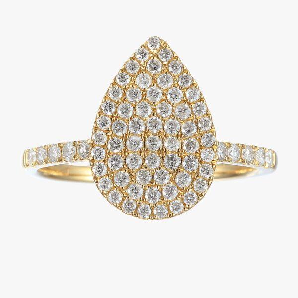 טבעת טיפה בשיבוץ פאווה יהלומים זהב צהוב 14 קראט