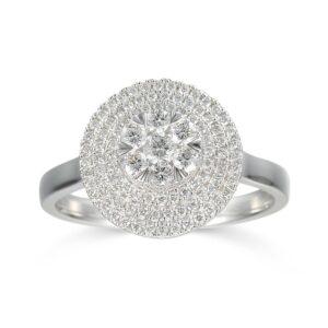 טבעת יהלומים שיבוץ פאווה זהב לבן 14 קראט תכשיטי בר דור