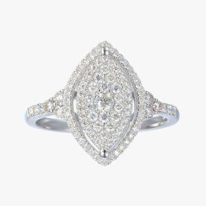 טבעת מרקיזה יהלומים זהב לבן 14 קראט