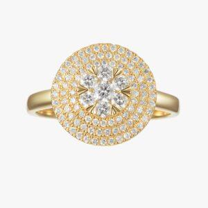 טבעת מגש היהלומים זהב צהוב 14 קראט