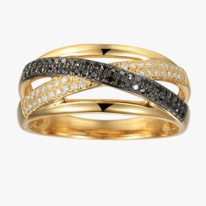 טבעת high way יהלומים שחורים ולבנים תכשיטי בר דור