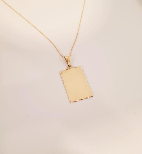 שרשרת פלטה לחריטה זהב 14 קראט