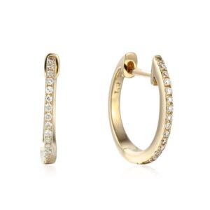 עגילי יהלום חישוק זהב 14 קראט