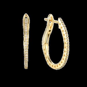 תכשיטי בר דור עגילי חישוק יהלומים זהב צהוב 14 קראט