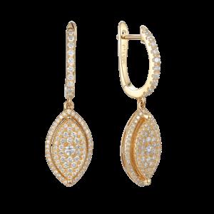עגילי יהלומים מרקיזה זהב 14 קראט