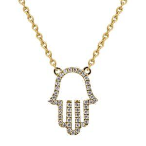 תכשיטי בר דור שרשרת חמסה יהלומים זהב צהוב 14 קראט