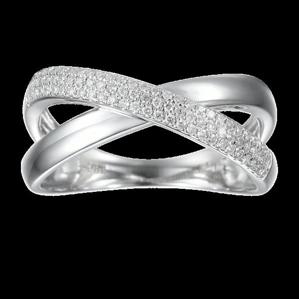טבעת איקס יהלומים לבנים