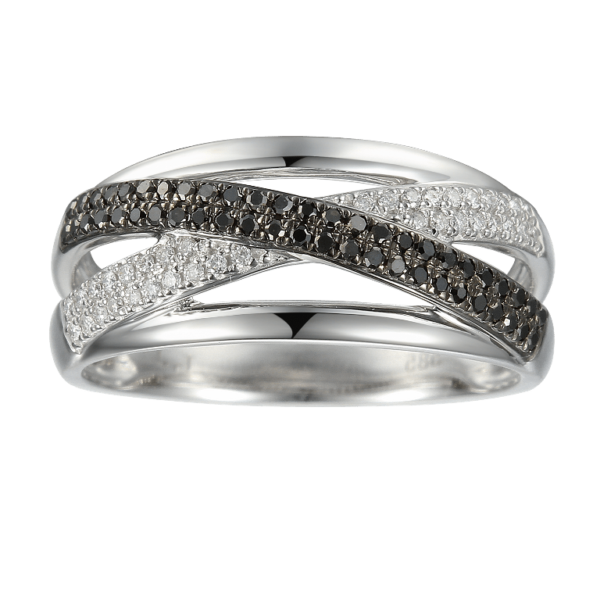 תכשיטי בר דור טבעת high way יהלומים שחורים ולבנים