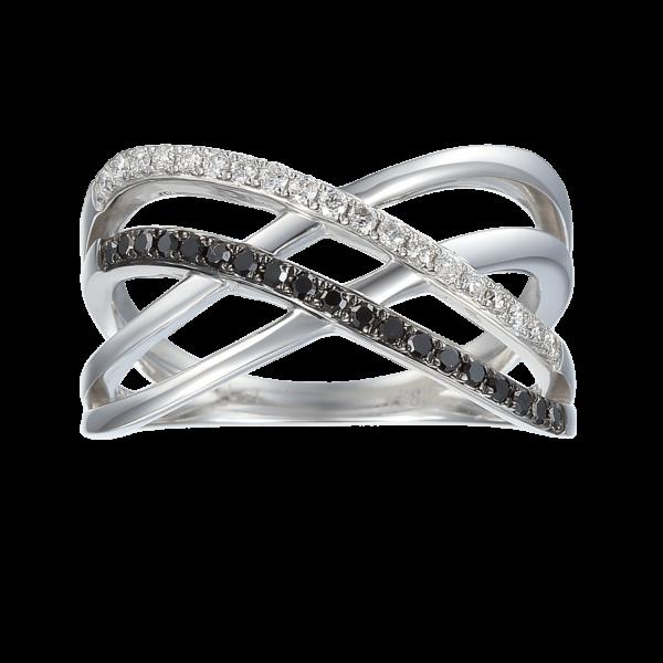 תכשיטי בר דור טבעת high way יהלומים שחורים ויהלומים לבנים