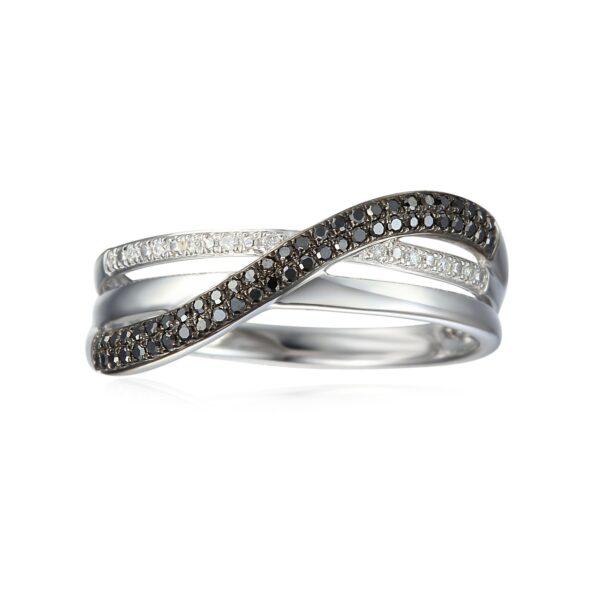 טבעת highway יהלומים שחורים ולבנים