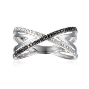 טבעת איקס יהלומים שחורים ולבנים