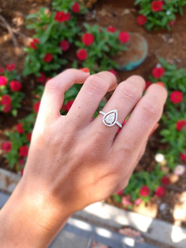 טבעת טיפה זהב ויהלומים