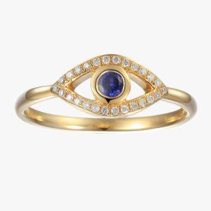 טבעת עין יהלומים וספיר כחולה זהב צהוב 14 קראט