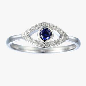 טבעת עין יהלומים וספיר