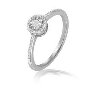 טבעת יהלומים - זהב לבן 14 קראט תכשיטי בר דור הרצליה