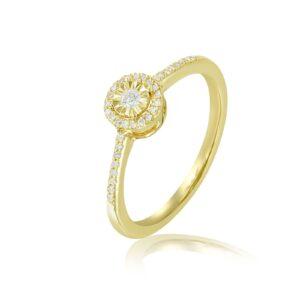 טבעת יהלומים - זהב צהוב 14 קראט תכשיטי בר דור הרצליה