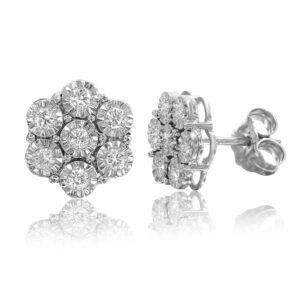 עגילי פרח יהלומים זהב לבן 14 קראט