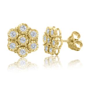 עגילי פרח יהלומים זהב צהוב 14 קראט