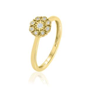 תכשיטי בר דור טבעת יהלומים בצורת פרח זהב צהוב 14 קראט