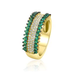 טבעת זהב צהוב 14 קראט משובצת יהלומים ואמרלדים