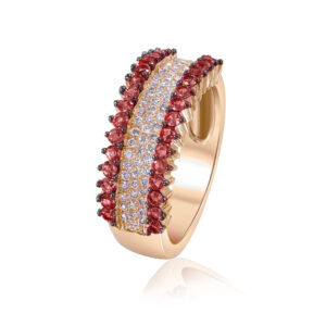 טבעת רובי ויהלומים זהב אדום 14 קראט