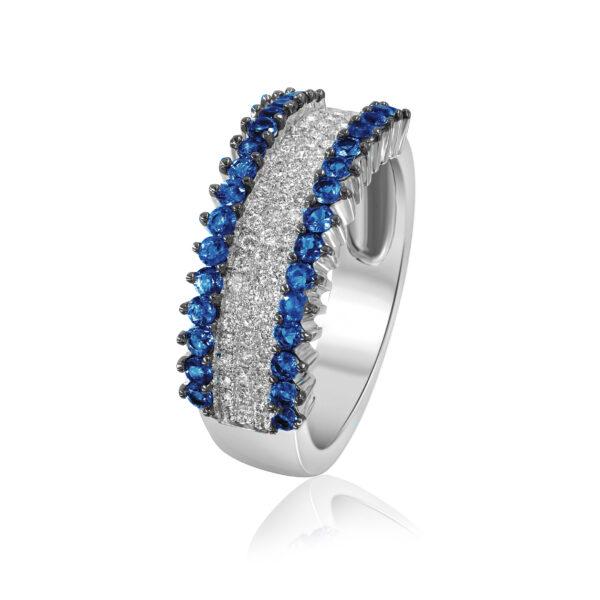 טבעת יהלומים וספיר זהב לבן 14 קראט