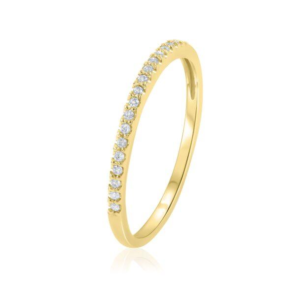 טבעת שורה יהלומים זהב צהוב 14 קראט