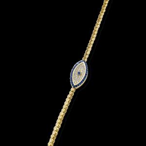 צמיד זהב 14 קראט בצורת עין וזרקונים