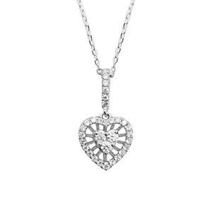 שרשרת זהב לבן 18 קראט בצורת לב