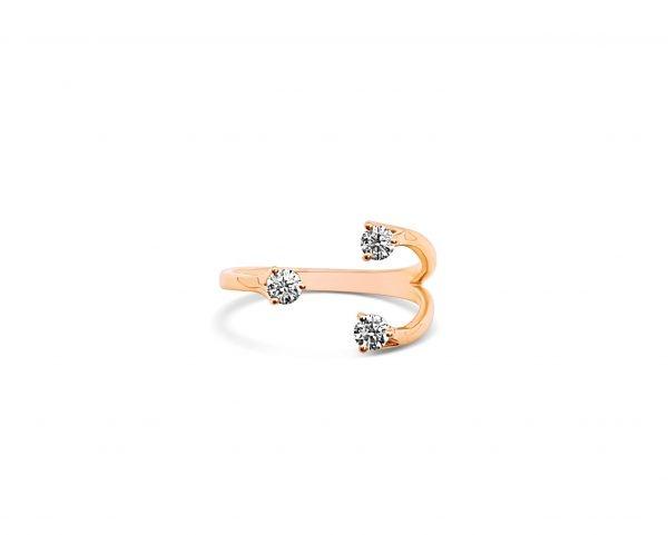 טבעת זהב אדום 18 קראט ויהלומים