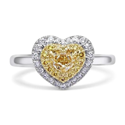 טבעת יהלומים צהובים זהב 18 קראט