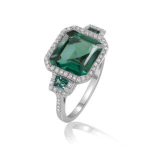 טבעת טופז ירוק זהב 14 קרט ויהלומים