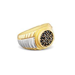 טבעת זהב לגבר משולבת זהב צהוב ולבן 14 קראט משובצת בזרקונים שחורים