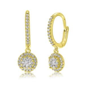 עגילי יהלומים תלויים זהב צהוב 14 קראט