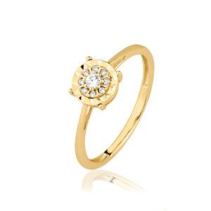 טבעת יהלומים טליה זהב צהוב 14 קראט