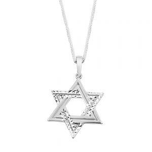 שרשרת זהב לבן מגן דוד לגבר