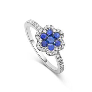 טבעת יהלומים וספירים זהב 18 קראט
