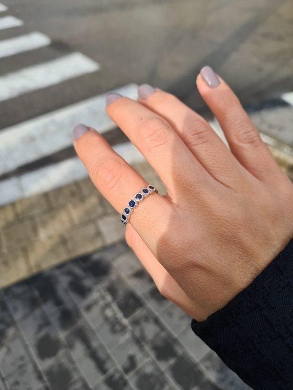 טבעת זהב וספירים מלאני